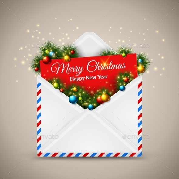 Open Envelope And Card Merry Christmas With Fir - Christmas Seasons/Holidays