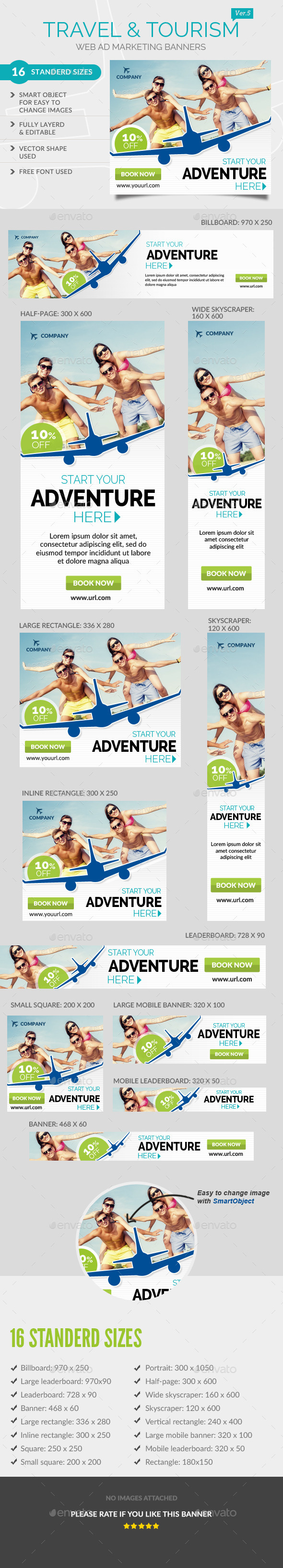 Travel Ad Banners - Banners & Ads Web Elements