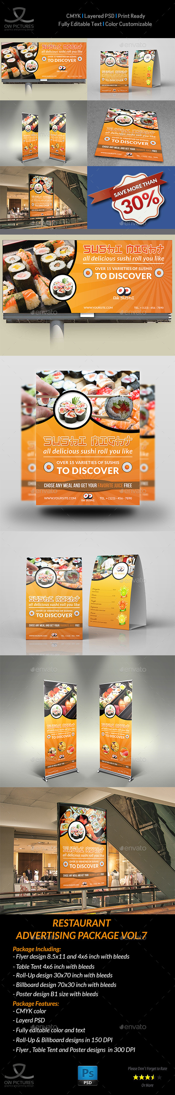 Restaurant Advertising Bundle Vol.7 - Signage Print Templates