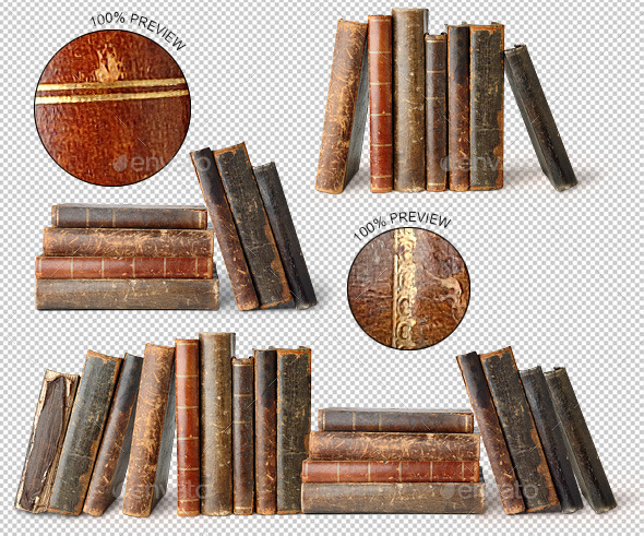 Row of Old Books - Home & Office Isolated Objects