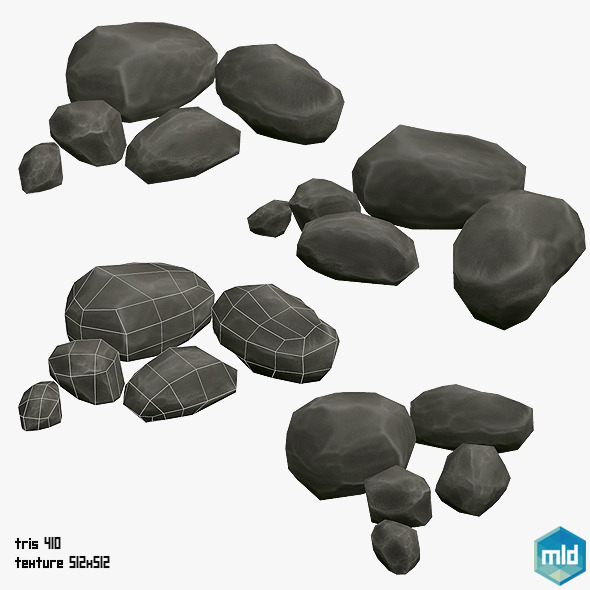 Low Poly Rock Asset - 3DOcean Item for Sale