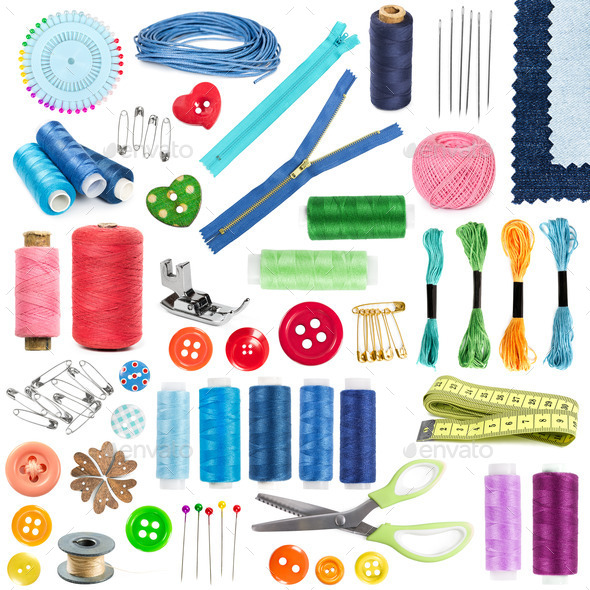 Accessories and tools for sewing - Stock Photo - Images