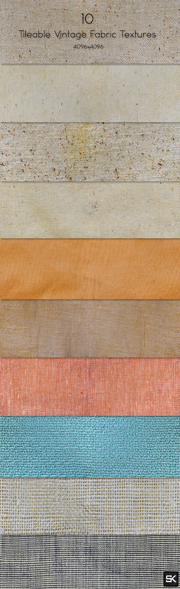 10 Tileable Vintage Fabric Texture - Miscellaneous Textures / Fills / Patterns