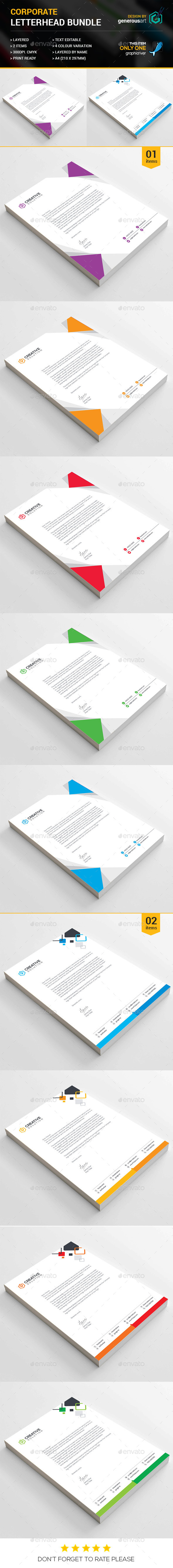Business Letterhead Bundle 2 in 1 - Stationery Print Templates