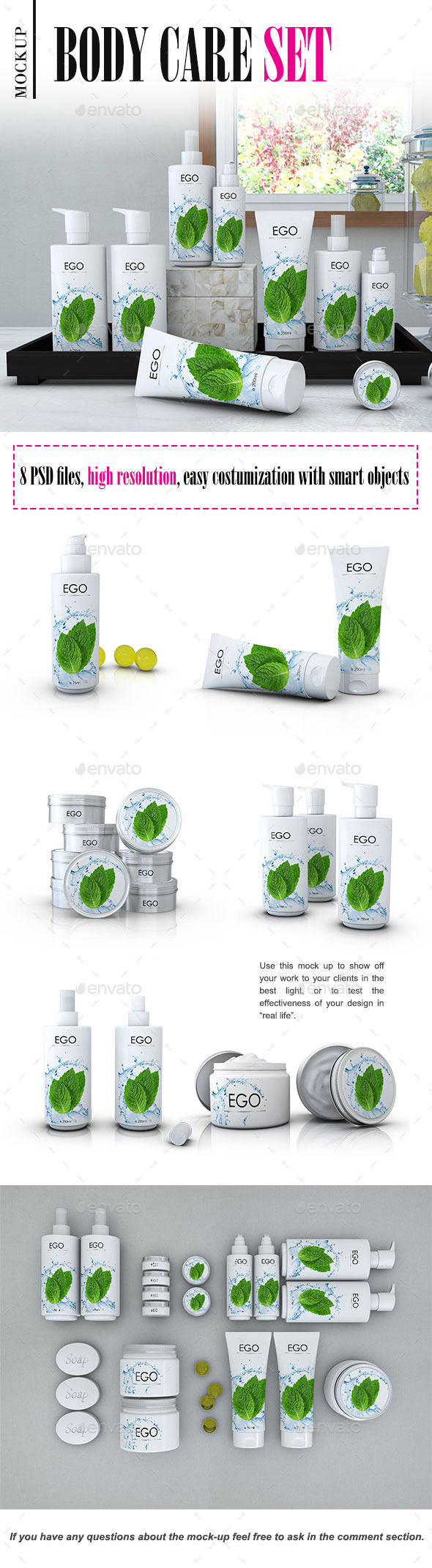 Cosmetics Bottles and Jars Mock-up - Product Mock-Ups Graphics