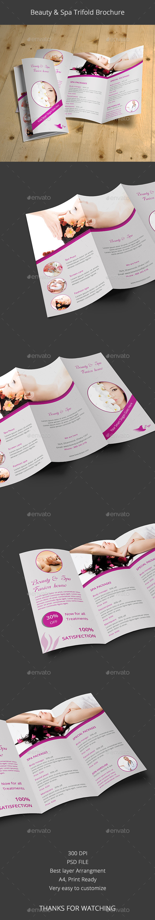 Beauty & Spa Trifold Brochure - Brochures Print Templates