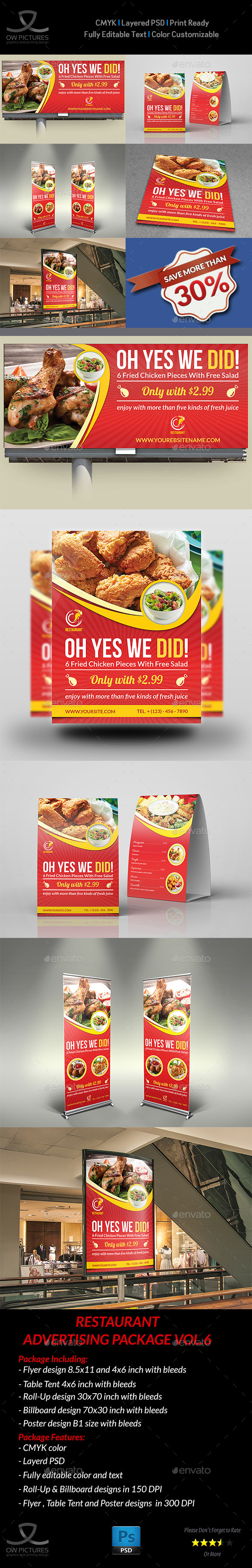 Restaurant Advertising Bundle Vol.6 - Signage Print Templates