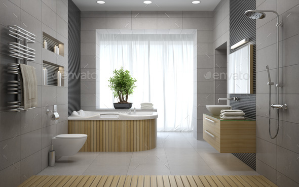 Interior of the modern design bathroom 3D rendering - Stock Photo - Images