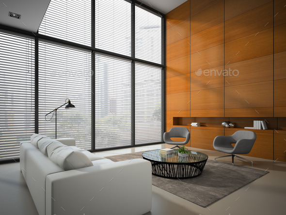 Interior of the room with wooden panel wall 3D rendering - Stock Photo - Images