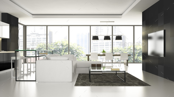 Interior of the modern design  loft  with white floorl 3D render - Stock Photo - Images