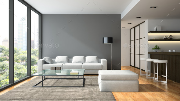 Interior Of The Modern Design Loft With Black Lampl Renderi Stock Photo Images