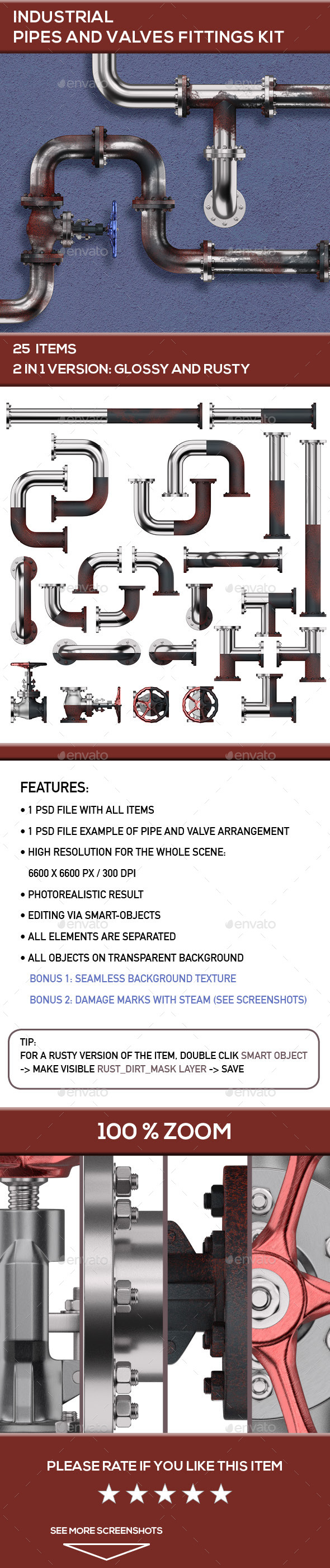 Industrial Pipes and Valves Fittings Kit