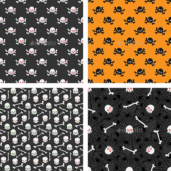 Seamless Patterns with Skulls - Patterns Decorative