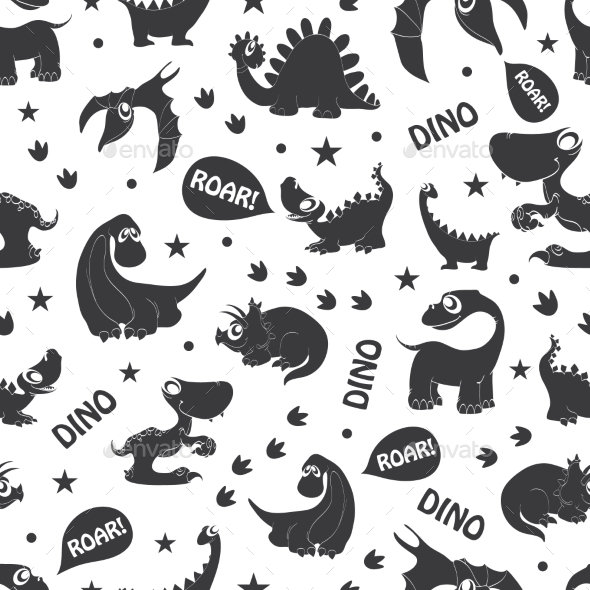 Vector Black White Dinosaurs Roaring Seamless