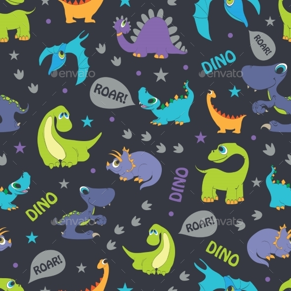 Vector Dinosaurs Roaring Seamless Pattern Cutest