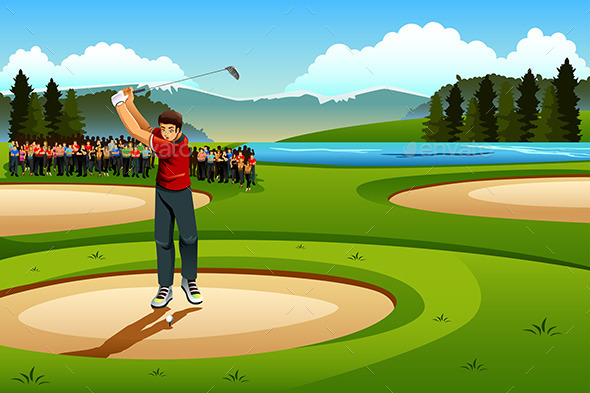 Man Playing Golf in the Competition - Sports/Activity Conceptual
