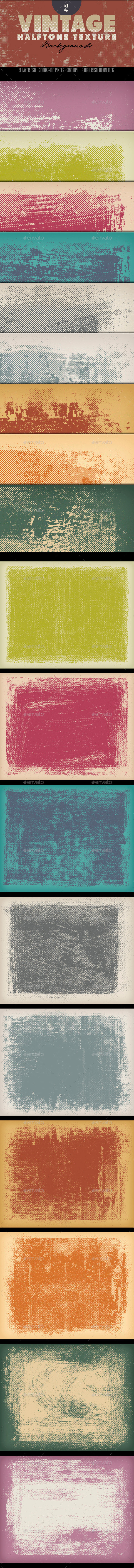 Vintage Halftone Textures Backgrounds 2 - Backgrounds Graphics