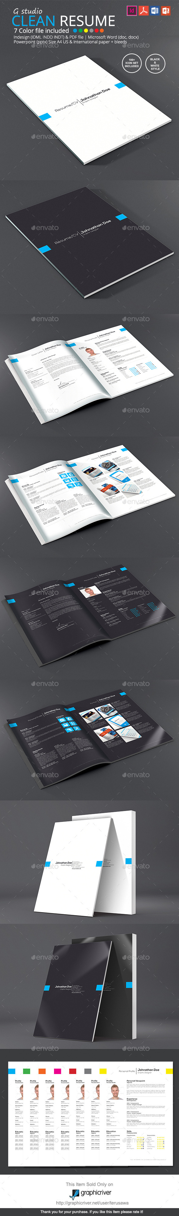 Gstudio Clean Resume Template By Terusawa  Graphicriver