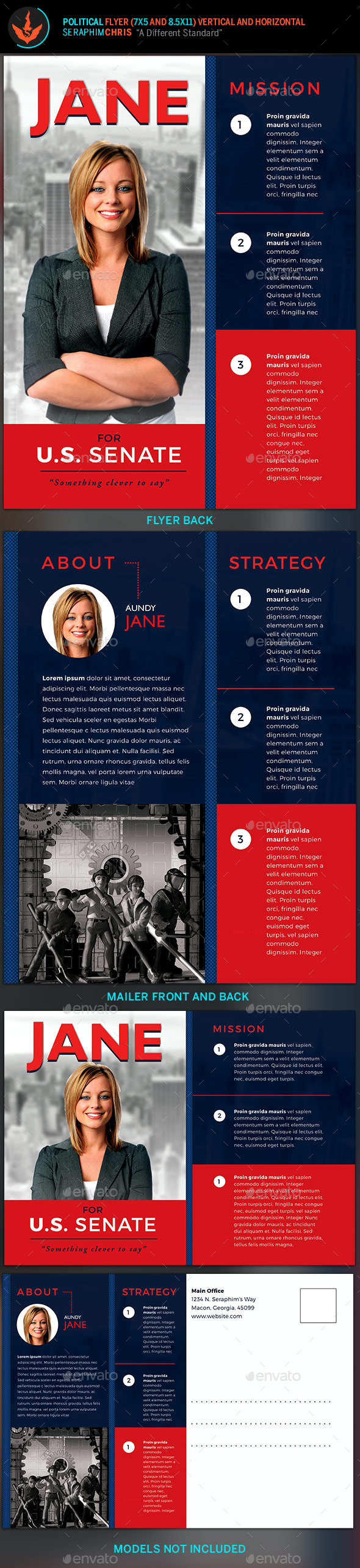 Vote jane 5x7 political flyer mailer template by for Political brochure templates
