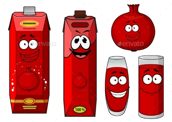 Cartoon Pomegranate Juice Containers And Fruit - Food Objects
