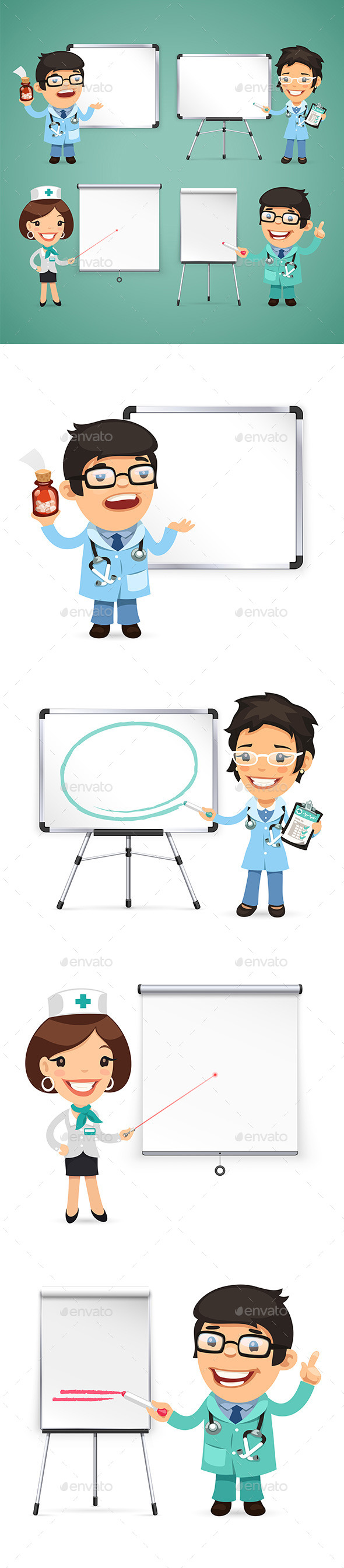 Doctors With Whiteboard Set