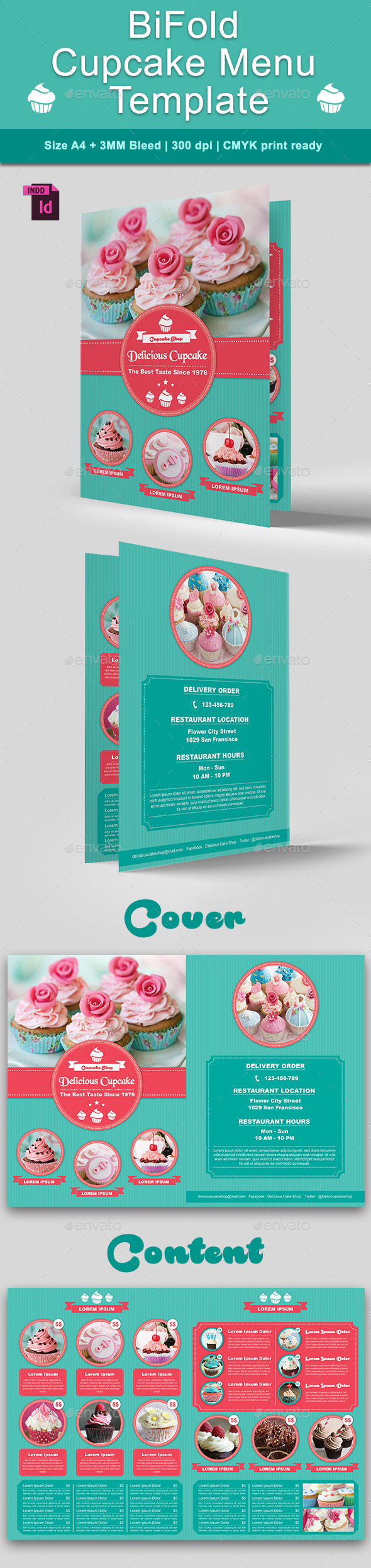 BiFold Cupcake Menu Template - Food Menus Print Templates
