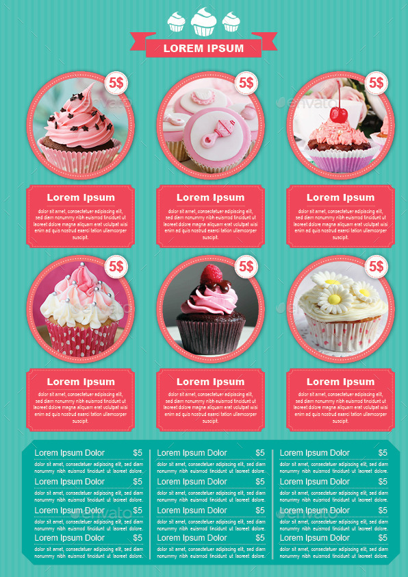 Bifold Cupcake Menu Template Food Menus Print Templates 1 Jpg