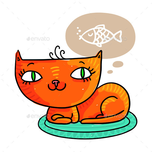 Cat Dreaming about Fish - Animals Characters