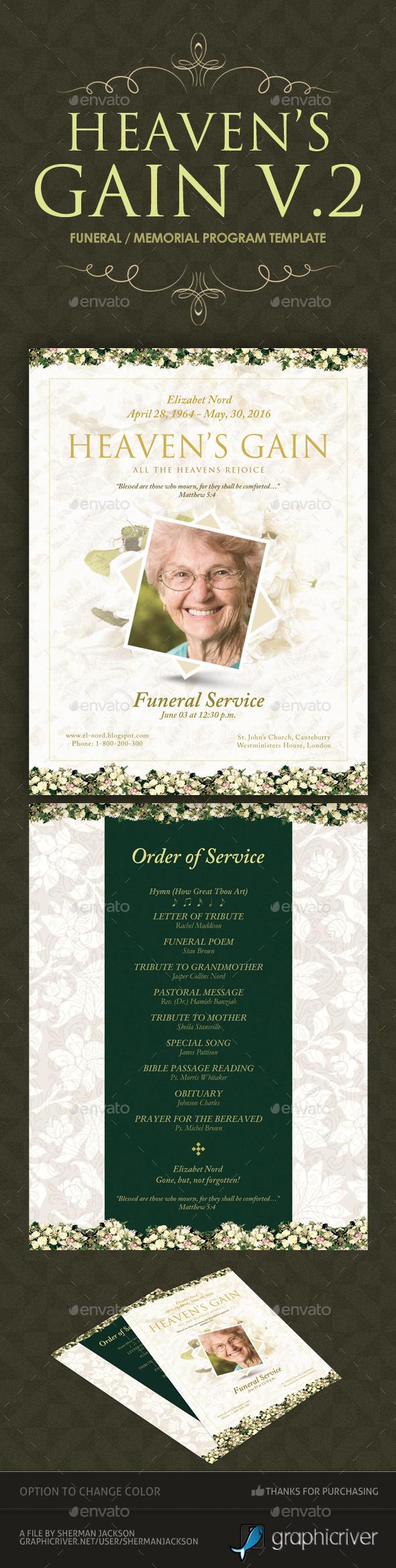 Heaven's Gain - Funeral / Memorial Program 02 - Miscellaneous Print Templates