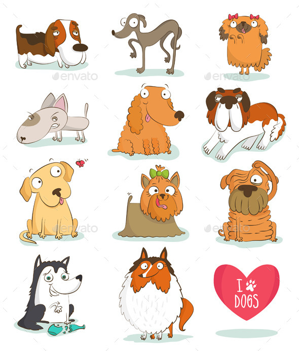 Set of Dog Breeds - Animals Characters