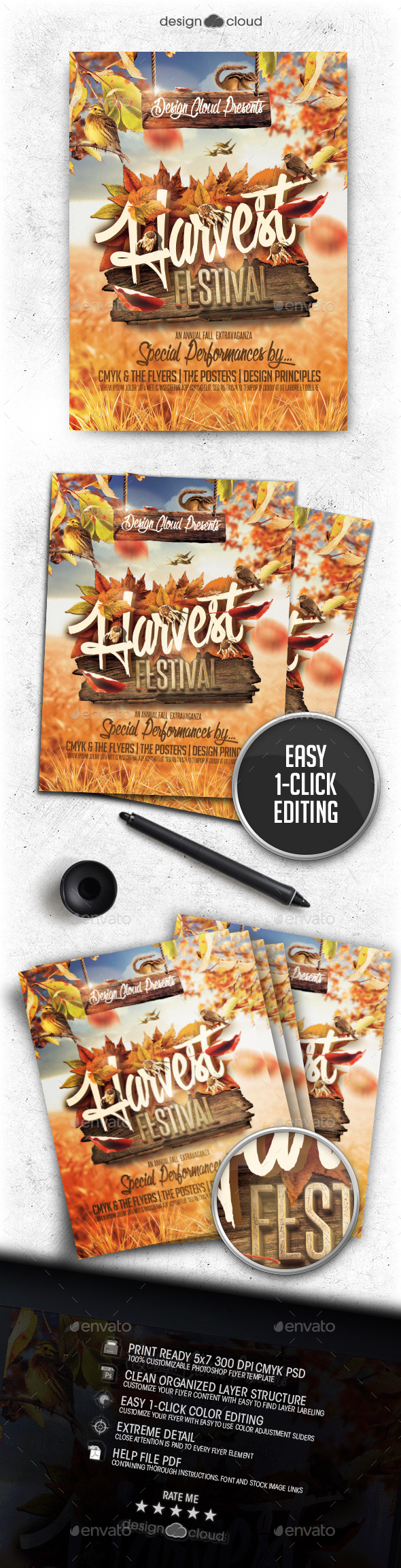 Fall Harvest Festival Flyer Template - Clubs & Parties Events