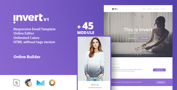 invert – Responsive Email Template + Online Editor