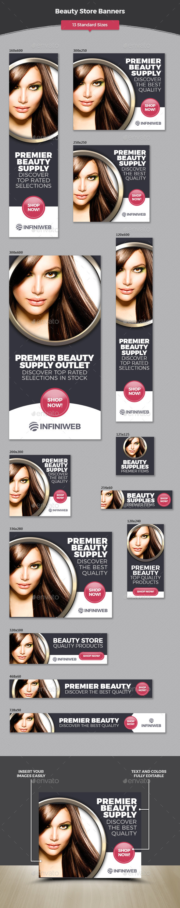 Beauty Store Banners - Banners & Ads Web Elements