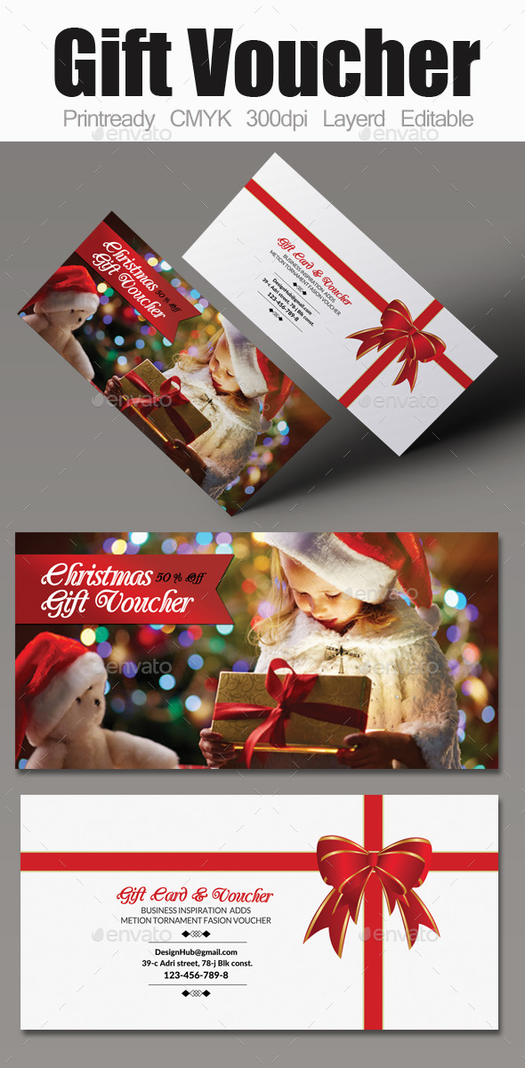 Christmas Gift Voucher - Cards & Invites Print Templates