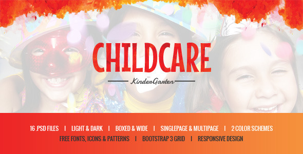 Child Care – Children & Kindergarten PSD Template