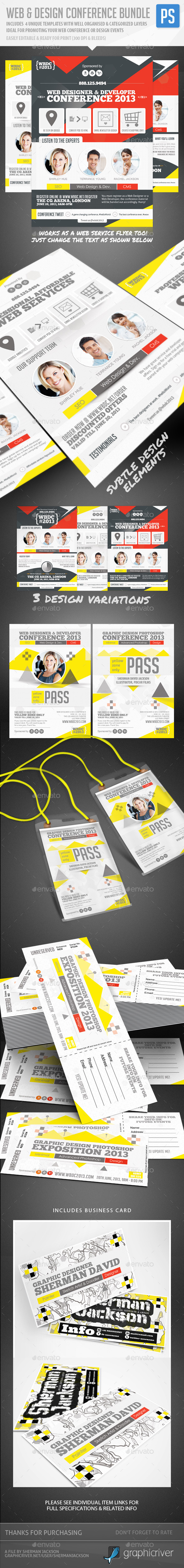 Web & Design Conference Flyer, Pass & Badge Bundle - Corporate Flyers