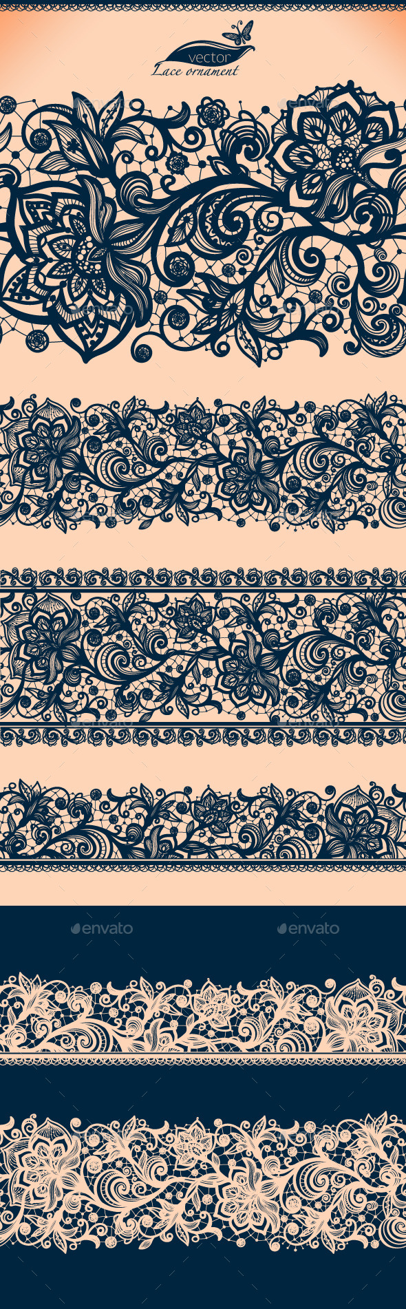 Seamless Lace Pattern with Decorative Flowers. - Decorative Vectors