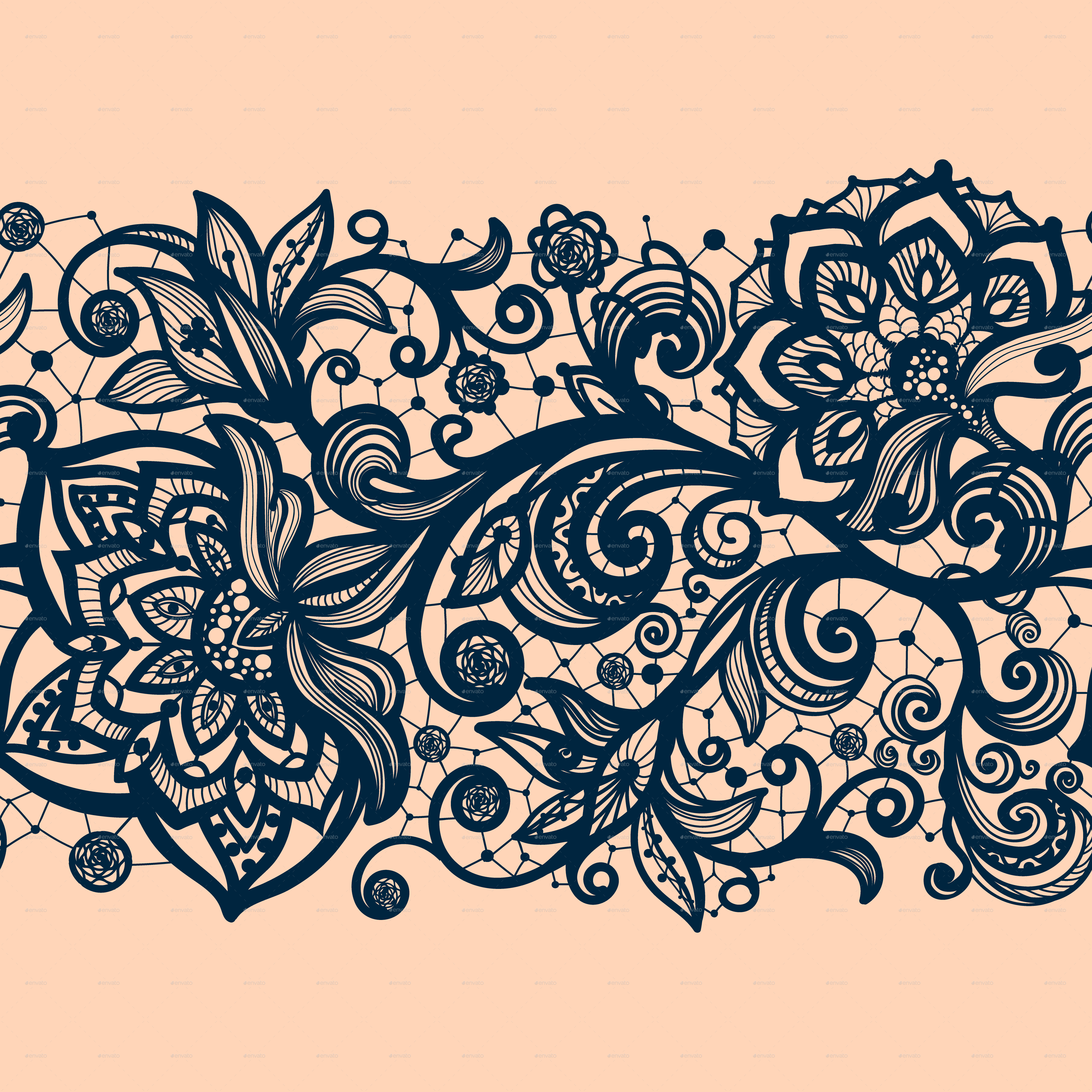 Seamless Lace Pattern with Decorative Flowers. by Vikpit ...