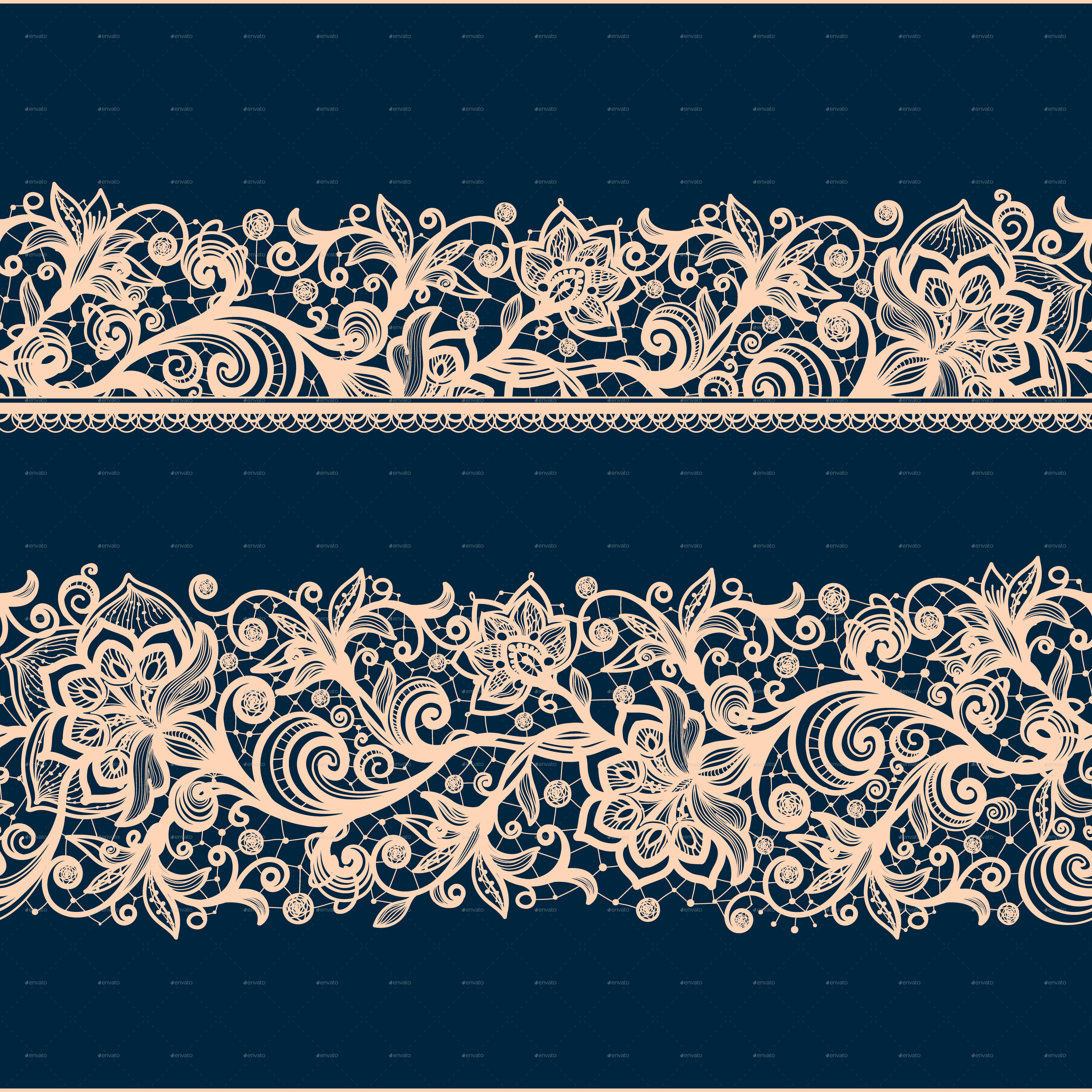 Seamless Lace Pattern with Decorative Flowers. by Vikpit