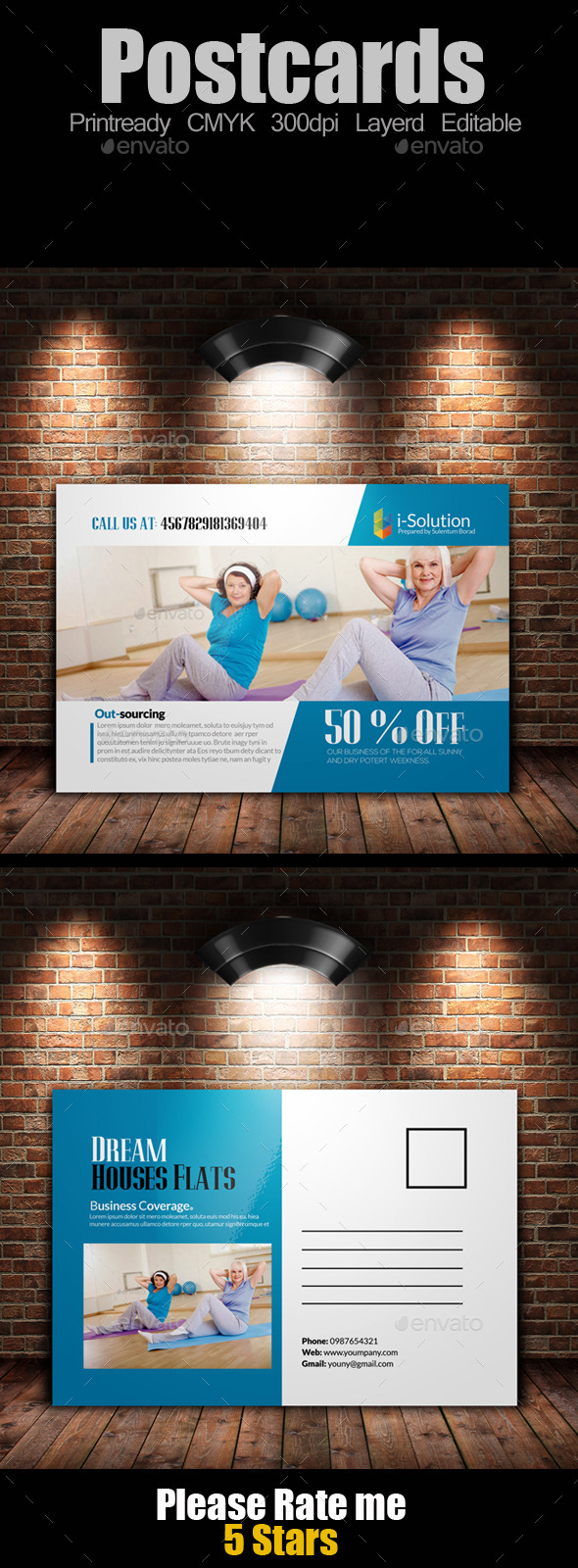 Fitness Post Cards Template - Cards & Invites Print Templates