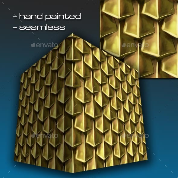 Seamless Hand Painted Golden Scale Mail 1 - 3DOcean Item for Sale