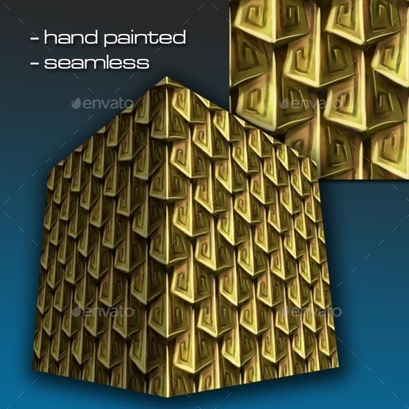 Seamless Hand Painted Golden Scale Mail 2 - 3DOcean Item for Sale