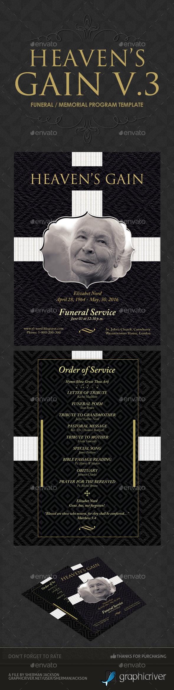 Heaven's Gain Funeral Memorial Program V.3