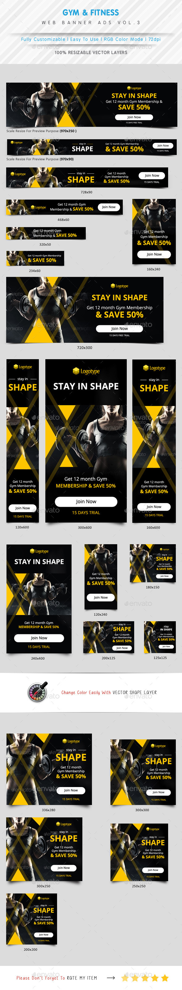 Gym & Fitness Web Banner Ads Vol.3 - Banners & Ads Web Elements