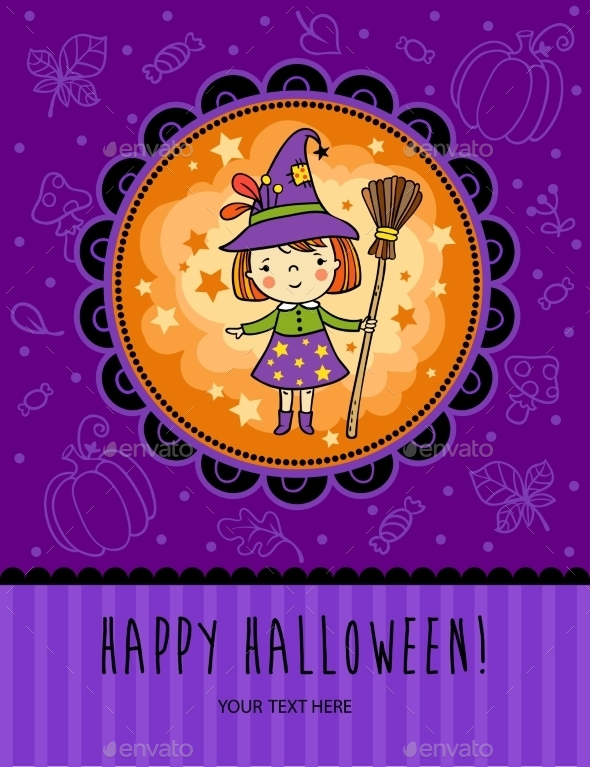 Halloween Card with Witch - Halloween Seasons/Holidays