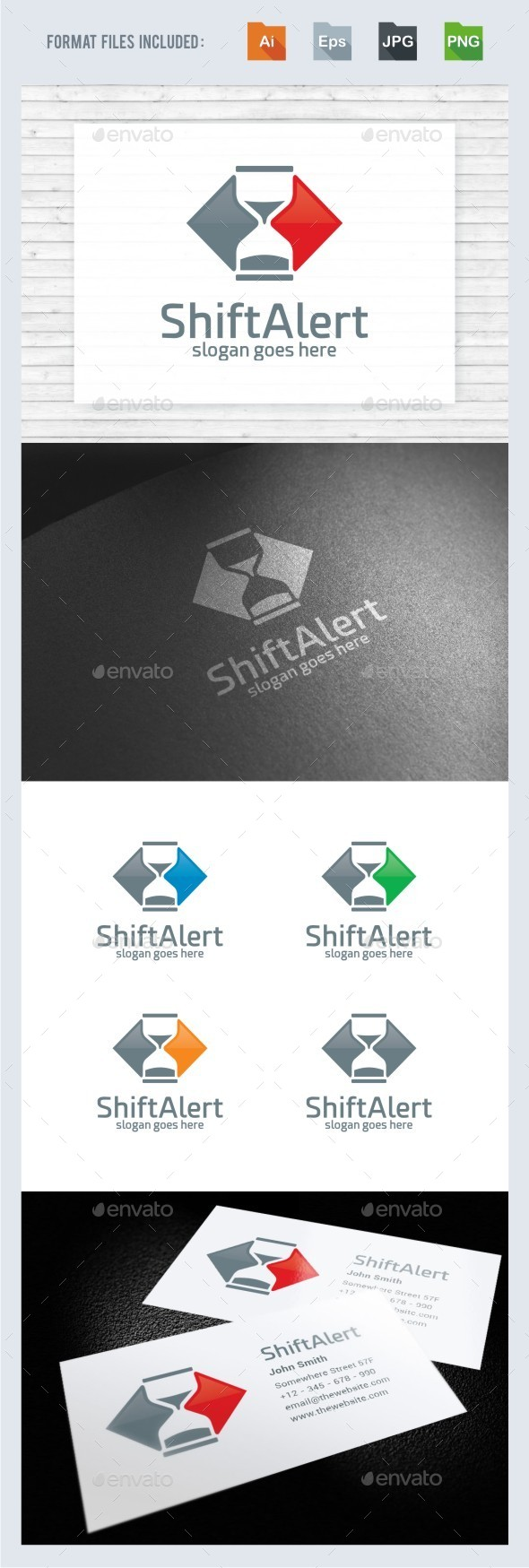 Shift Alert Sand Watch Logo Template