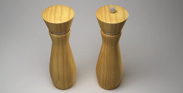 Wooden salt and pepper mill - 3DOcean Item for Sale