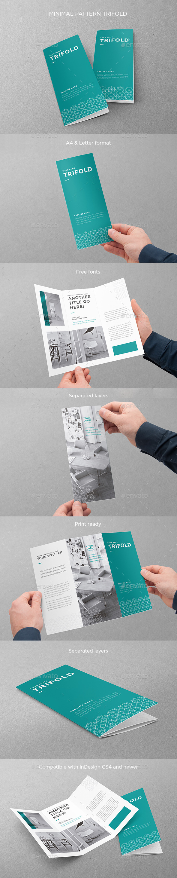 Minimal Pattern Trifold - Brochures Print Templates