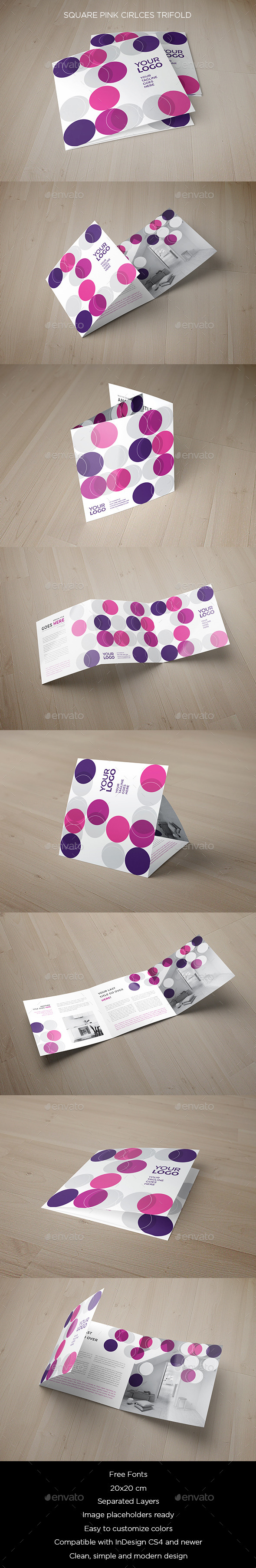 Square Pink Circles Trifold - Brochures Print Templates