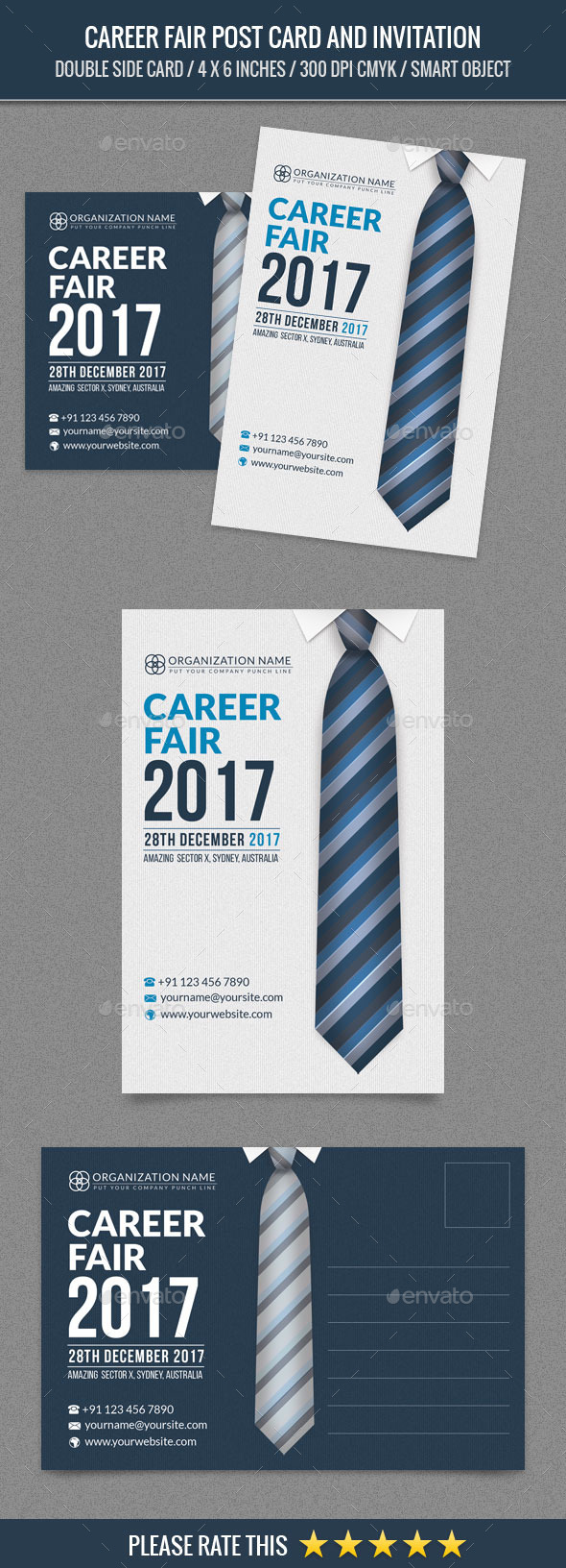 Career Fair Post Card Template - Cards & Invites Print Templates